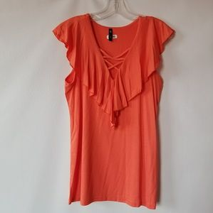 NWT Vision Apparel coral ruffled sleeveless top